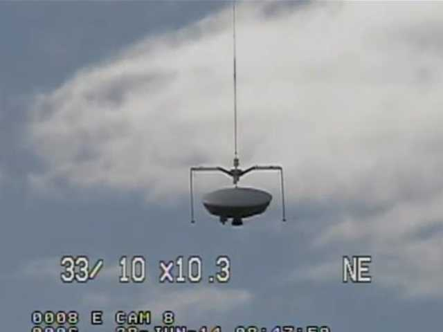 This image taken from video provided by NASA shows the launch of the high-altitude balloon carrying this saucer-shaped vehicle for NASA, Saturday June 28, 2014 in Kauai, Hawaii. Saturday's experimental flight high in Earth's atmosphere is testing technology that could be used to land on Mars.