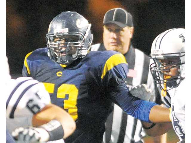 COC defensive lineman Antonio Guy (53) was a CCCAA All-America First Team defensive selection.