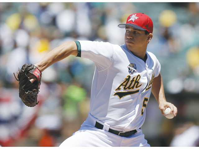 Oakland Athletics pitcher and Saugus High graduate Tommy Milone works against the Toronto Blue Jays on Friday in Oakland.
