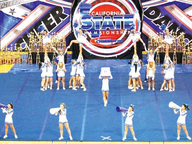 Saugus High School cheerleaders compete.