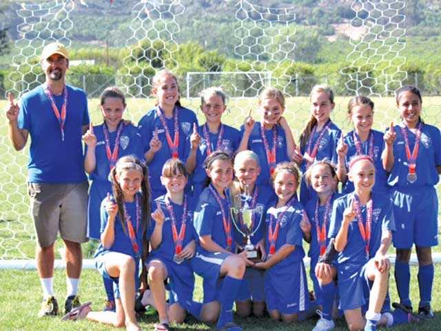 The Girls U11 Santa Clarita Elite club soccer team, coached by former professional Los Angeles Galaxy soccer player Adam Frye.