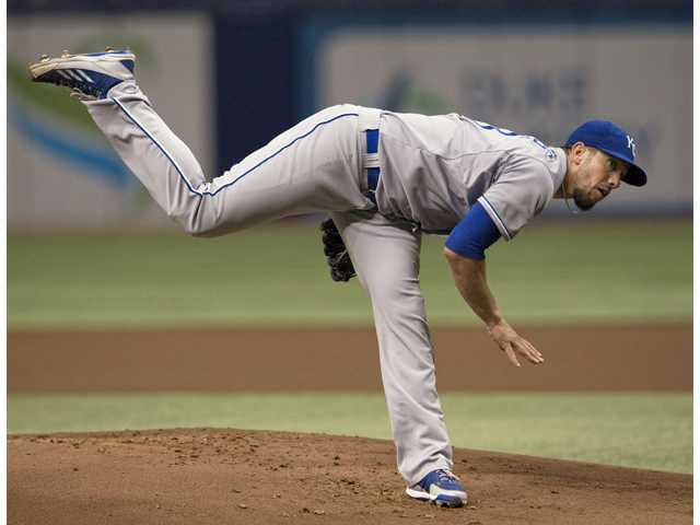 Kansas City Royals pitcher and Hart graduate James Shields throws against the Tampa Bay Rays on Monday in St. Petersburg, Fla.