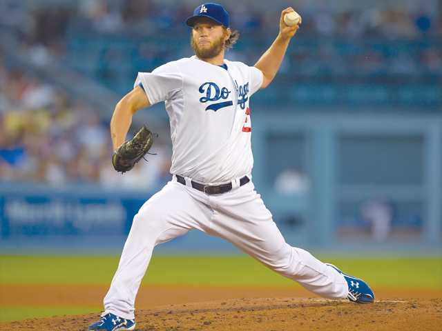 Dodgers pitcher Clayton Kershaw's scoreless streak ended at 41 innings in Thursday's game in Los Angeles.