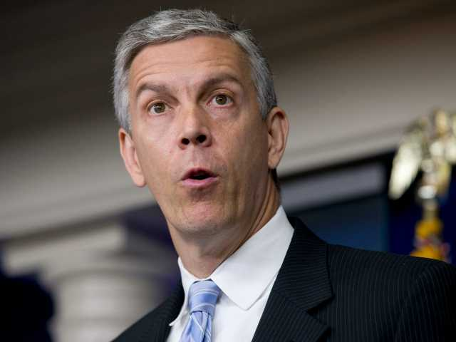 Education Secretary Arne Duncan speaks about education, Monday, July 7, 2014, during the daily briefing at the White House in Washington. The nation's largest teachers' union wants Duncan to quit. Delegates of the National Education Association adopted a business item July 4 at its annual convention in Denver that called for his resignation. The vote underscores the long standing tension between the Obama administration and teachers' unions _ historically a steadfast Democratic ally. (AP Photo/Jacquelyn Martin)
