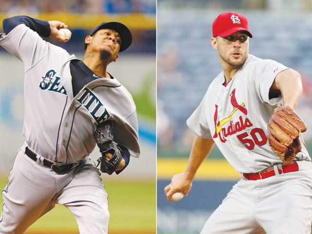 Seattle Mariners starting pitcher Felix Hernandez, left, and St. Louis Cardinals starting pitcher Adam Wainwright, right, will start in today's All-Star Game.