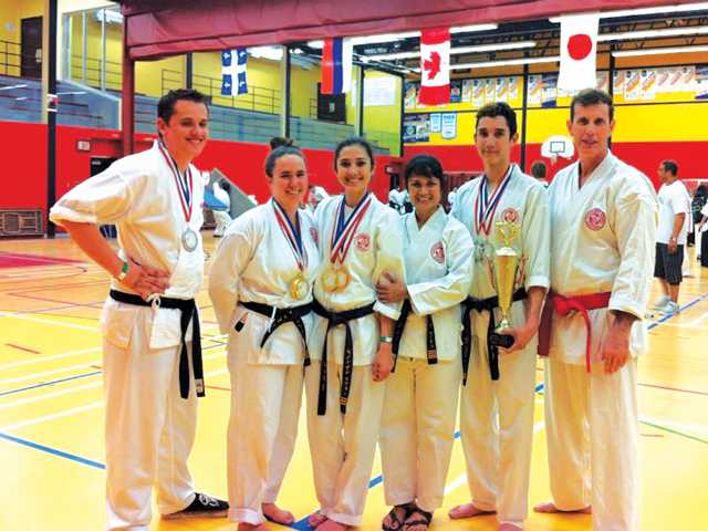 The U.S. team at the International Contact Karate Tournament in Canada: from left, Gabriel Harries, Cassie Greenough, Shannon Laurin, Lorna Laurin, John Michael Laurin and instructor Michel Laurin. Sally Harries/Courtesy photo