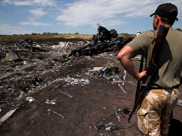 An armed man looks at charred debris at the crash site of Malaysia Airlines Flight 17