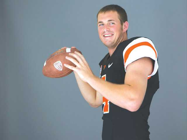 Oregon State quarterback Sean Mannion poses at 2014 Pac-12 NCAA media days at Paramount Studios in Los Angeles on Thursday. Mannion, the conferences leading passer last season, leads an impressive list of Pac 12 quarterbacks in 2014.