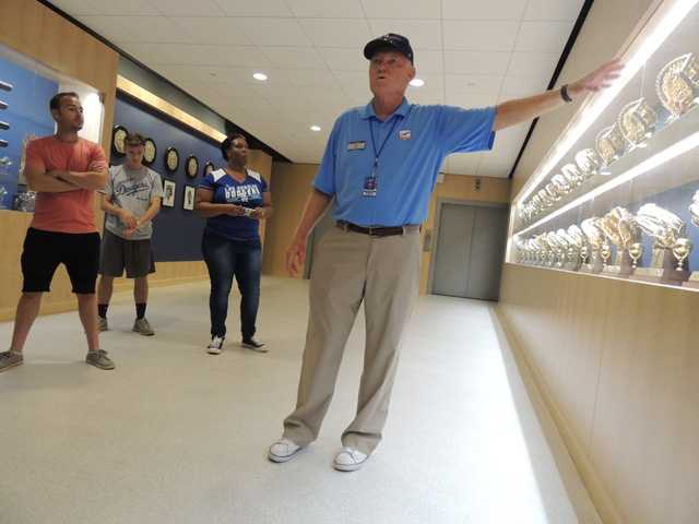 Newhall resident and longtime Dodger fan Paul Berry gives a tour of Dodger Stadium. Courtesy photo by Mark Langill - Los Angeles Dodgers.