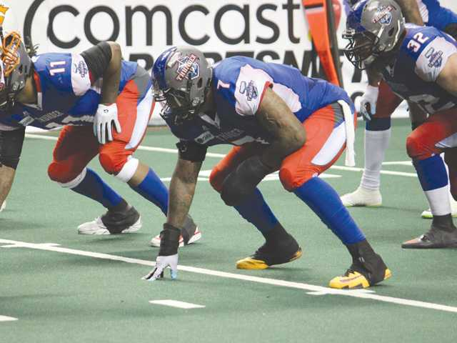 Former College of the Canyons player Marquis Jackson (7) lines up for the Portland Thunder during an Arena Football League game. Photo courtesy of the Portland Thunder