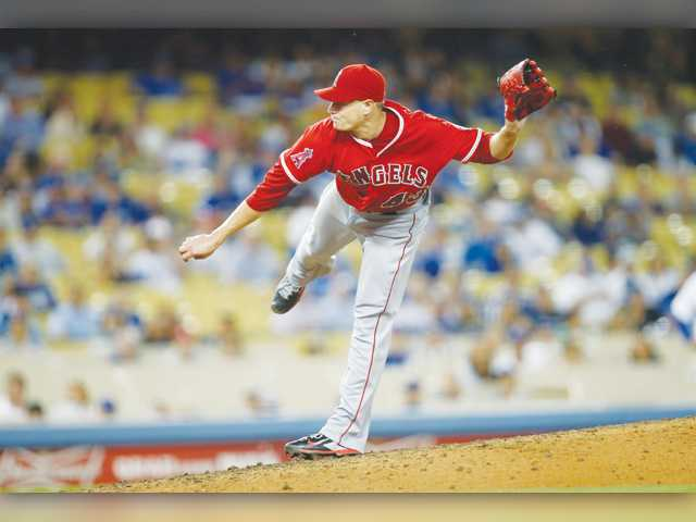Los Angeles Angels starting pitcher Garrett Richards makes a ninth-inning pitch against the Los Angeles Dodgers on Monday in Los Angeles.