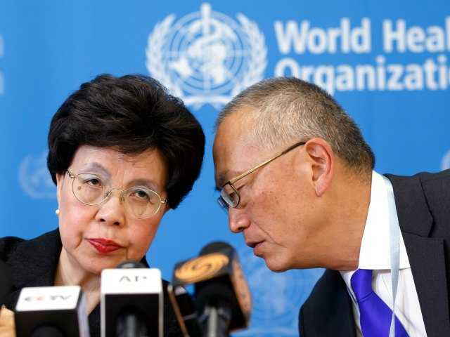 Director General of the World Health Organization, WHO, China's Margaret Chan and Assistant Director General for Health Security Keiji Fukuda of the US, right.
