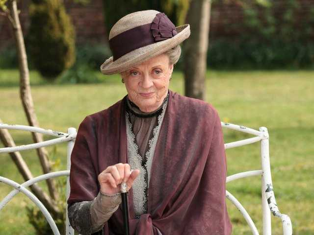 "Maggie Smith as the Dowager Countess Grantham, is shown in a scene from the second season on ""Downton Abbey."""