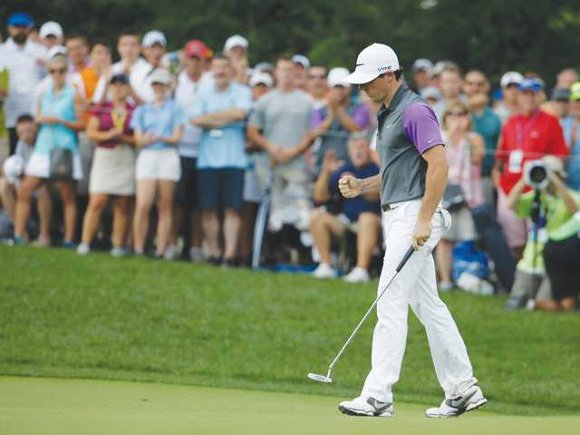 Rory McIlroy celebrates during the final round of the PGA Championship at Valhalla Golf Club on Sunday in Louisville, Ky.