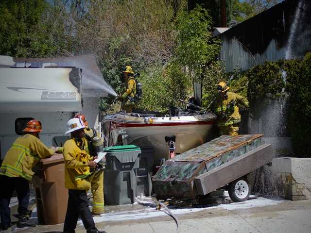 UPDATE: One injured in boat fire at Canyon Country home