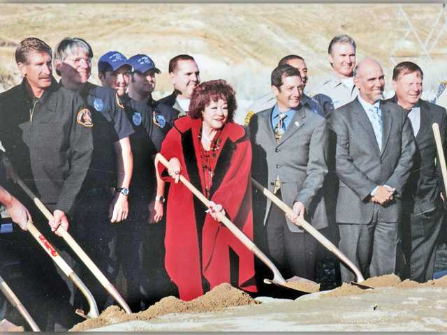 Connie Worden-Roberts joins others dignitaries in the ceremonial 2008 ground-breaking for the cross-valley connector. Photo courtesy of Leon Worden