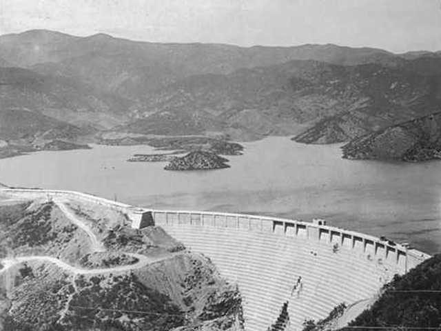 The St. Francis Dam before it broke on March 12, 1928, sending a cascade of water down San Francisquito Canyon that wiped out communities in the Santa Clara and Santa Clarita valleys.