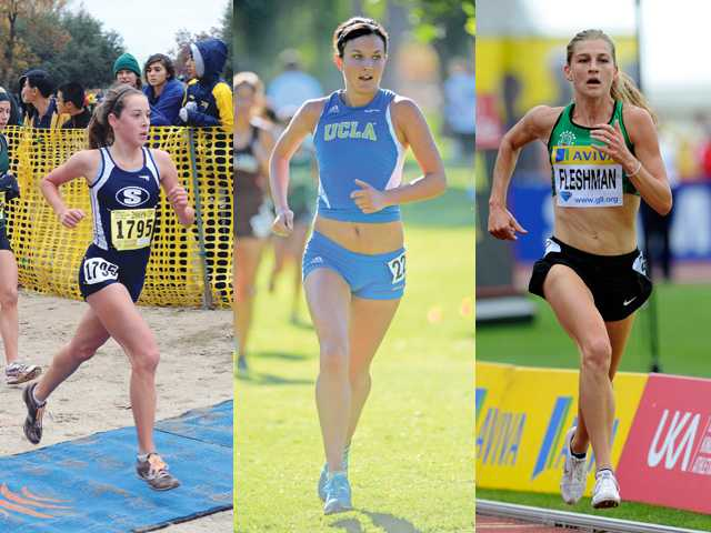 Saugus graduate Kaylin Mahoney (left), Saugus grad Shannon Murakami (center) and Canyon graduate Lauren Fleshman (right) have all experienced varying levels of success after high school.