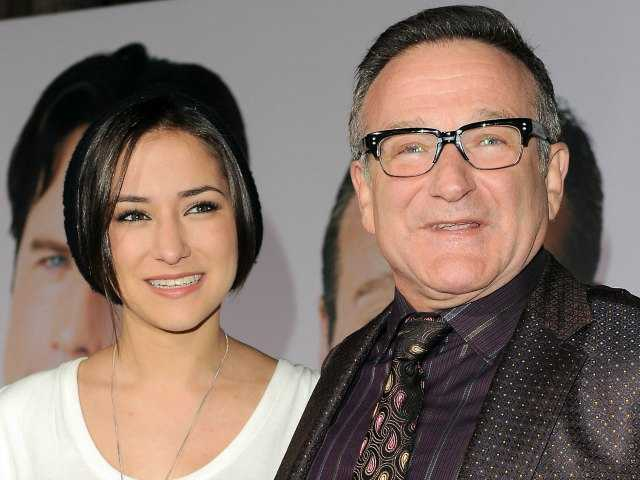 "This Nov. 9, 2009 file photo shows Zelda Williams, left, with her father Robin Williams at the premiere of ""Old Dogs,"" in Los Angeles."