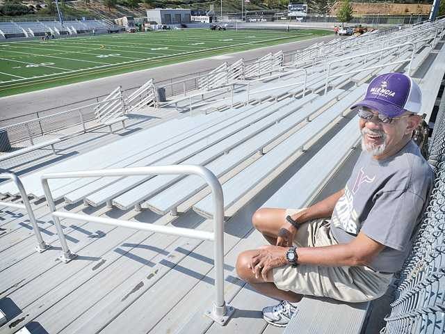 Katharine Lotze/The SignalLou Whitfield sits in his spot at the 23 yard line at Valencia High. He has been attending Valencia football games since the school opened in 1995 and has missed less than 10 games in that 15-year timespan.