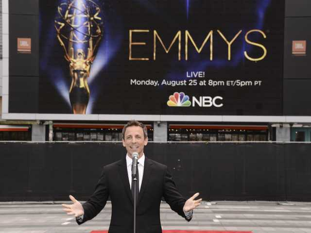 Host Seth Meyers speaks at the Television Academy's 66th Primetime Emmy Awards Press Preview Day and Red Carpet Rollout at Nokia Theater L.A. LIVE on Wednesday.