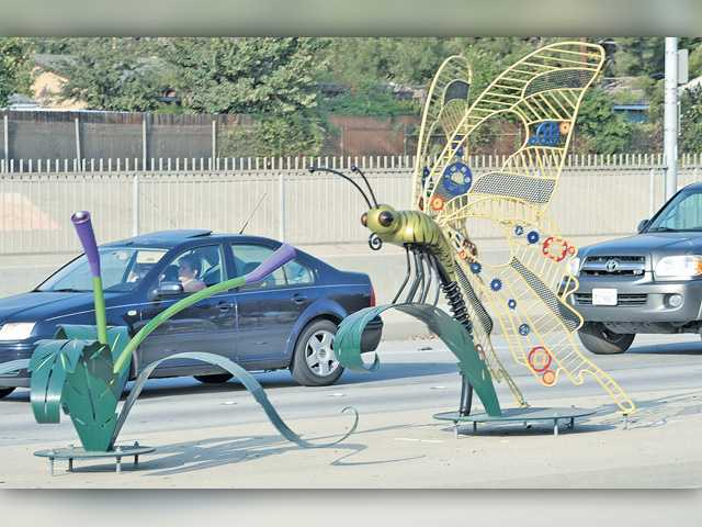 The Bouquet butterfly occupied the center median on Bouquet Canyon Road until it was hit by a car and sent in for repairs. Signal file photo