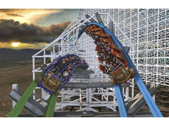 This promotional image was released Thursday by Six Flags Magic Mountain park officials as part of the unveiled plans for Twisted Colossus.