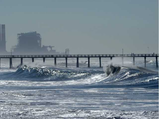 Waves pound Hueneme Beach in Port Hueneme on Wednesday.