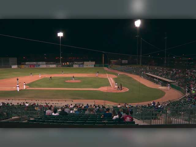In this screenshot from a June video, the Lancaster JetHawks take on the Lake Elsinore Storm at The Hangar in Lancaster. Signal video by Austin Dave.