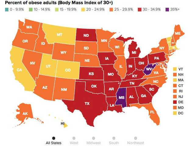 Map reveals obesity rates for each state