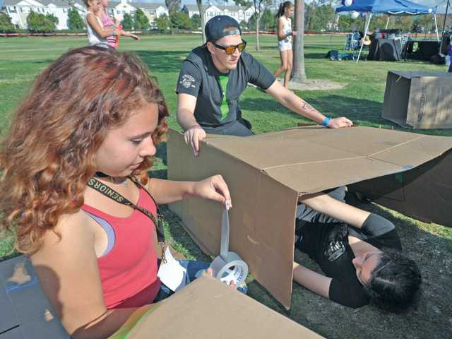 Hundreds head to the park for a night in boxes