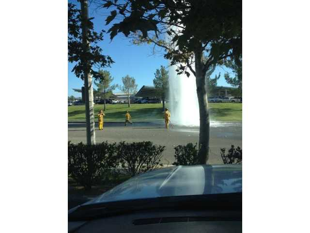 UPDATE: Hydrant, water line break in Santa Clarita Valley Monday