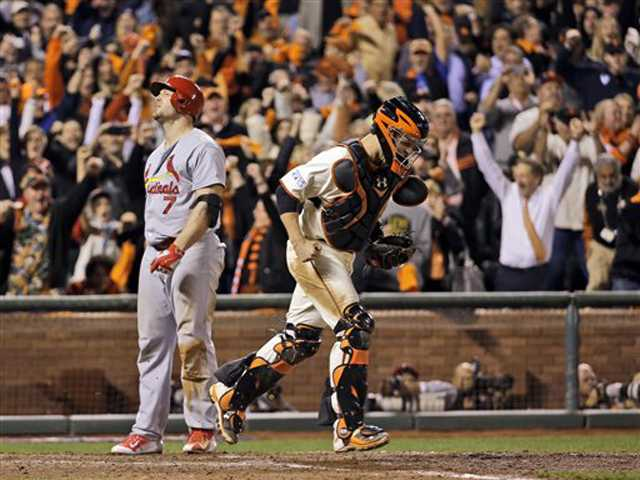 Giants beat Cardinals 6-4, move 1 win from Series