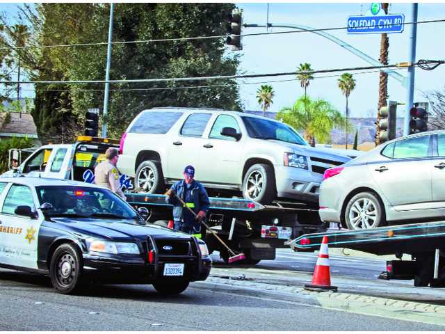 Crash ties up traffic on Soledad Cyn Rd.