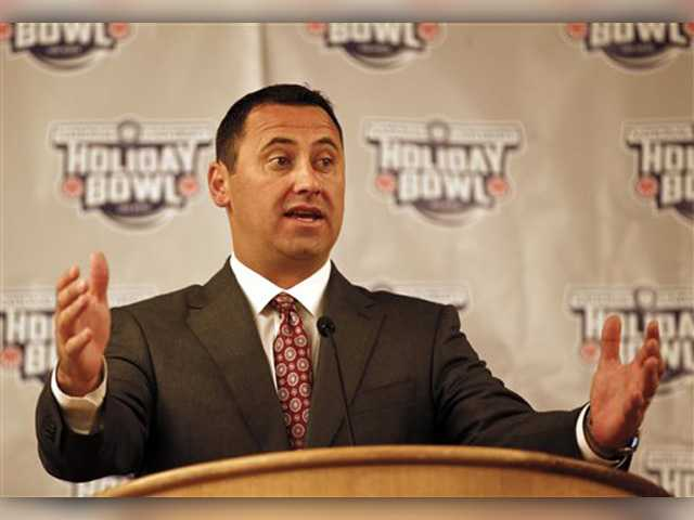 Southern California head coach Steve Sarkisian answers questions during a news conference on Friday in San Diego. USC takes on Nebraska in the Holiday Bowl on Saturday.