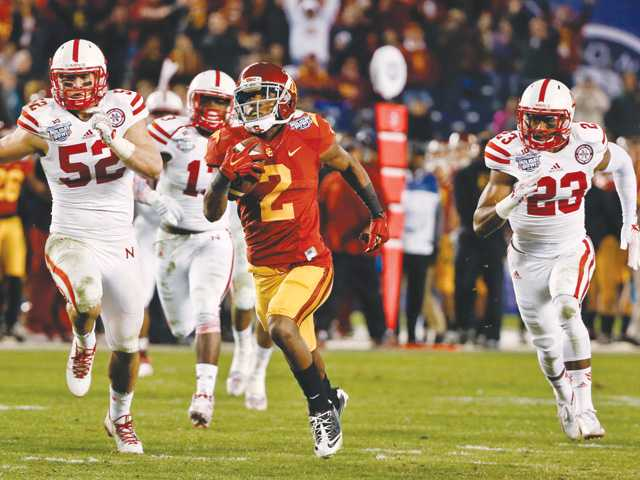 USC's Adoree' Jackson breaks loose on a 71-yard touchdown reception against Nebraska during the second half of the Holiday Bowl on Saturday in San Diego.