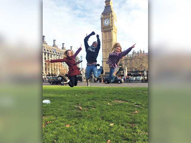 Cheerleaders perform in London parade