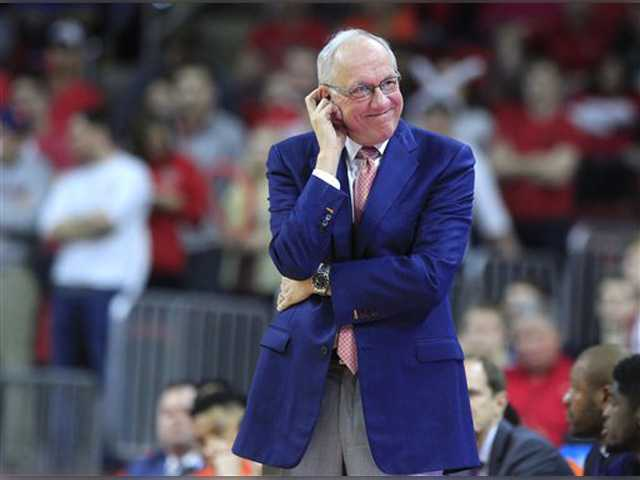 Syracuse head coach Jim Boeheim watches during the second half of an NCAA college basketball game against North Carolina State at PNC Arena on Saturday in Raleigh, N.C.