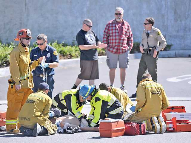 Pedestrian struck by car in Newhall
