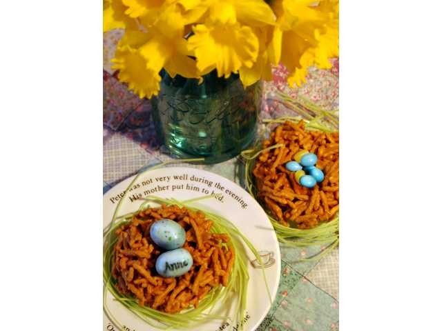 Butterscotch nests with personalized eggs are delightful Easter treats