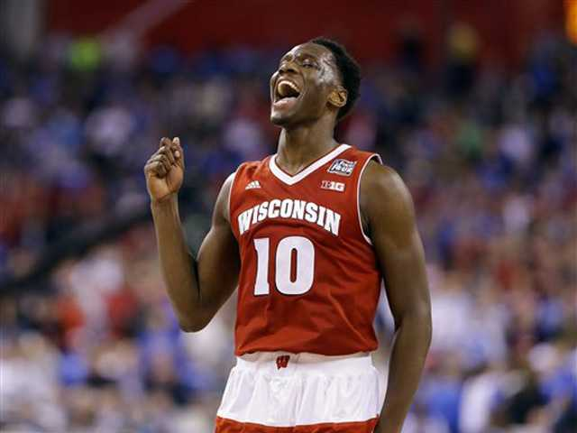 Wisconsin's Nigel Hayes celebrates at the end of an NCAA Final Four game against Kentucky Saturday in Indianapolis. AP Photo/Michael Conroy