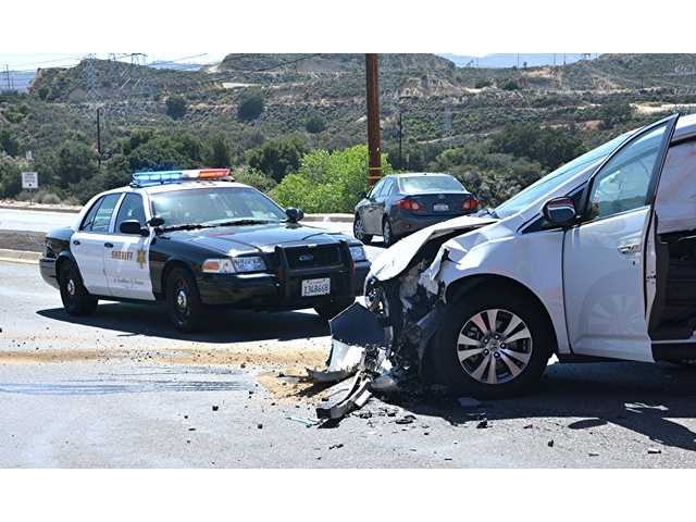 One injured in rollover crash in Newhall