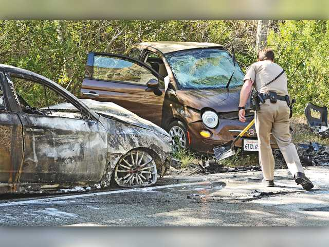 Woman injured in fiery crash on Bouquet Canyon Road