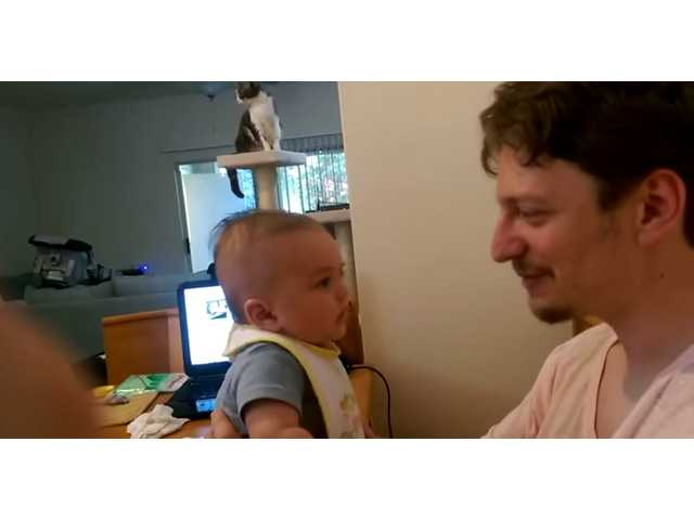 See this 3-month-old baby say 'I love you' to his dad