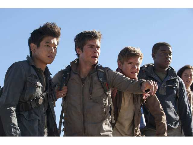"The ""Maze Runner"" Gladers (from left) Min Ho (Ki Hong Lee), Thomas (Dylan O'Brien), Newt (Thomas Brodie-Sangster), Frypan (Dexter Darden) and Teresa (Kaya Scodelario) face their greatest challenge yet: searching for clues about the mysterious and powerful organization known as WCKD, in ""Maze Runner: The Scorch Trials."""