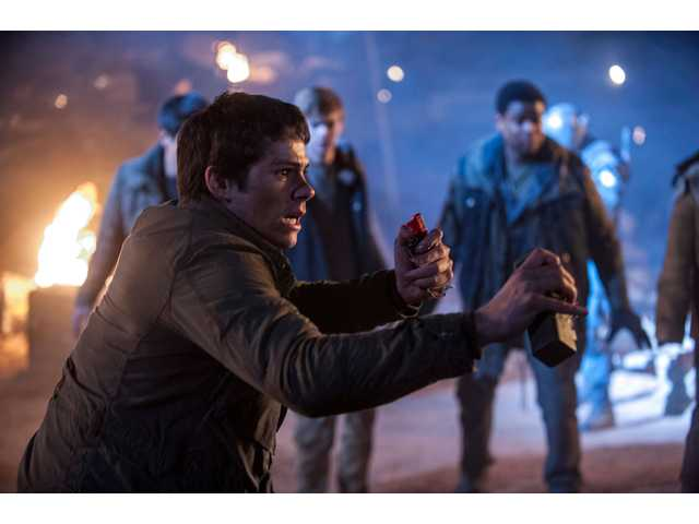 "Thomas (Dylan O'Brien) prepares for battle in ""Maze Runner: The Scorch Trials."""