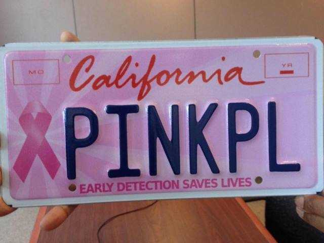 Pink license plates offered for Breast Cancer Awareness Month
