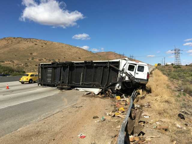 Overturned big rig causes traffic delays near Palmdale
