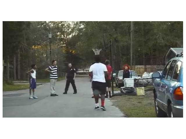 Video: Officer responds to noise complaint, joins basketball game instead