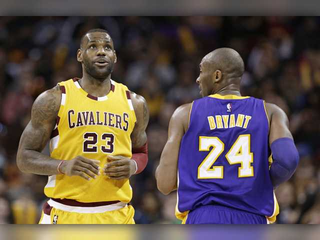 f3cb5210a77 Cleveland Cavaliers  LeBron James (23) and Los Angeles Lakers  Kobe Bryant  ...
